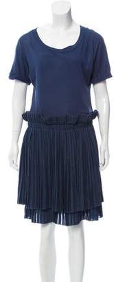 See by Chloe Pleat-Accented Knee-Length Dress