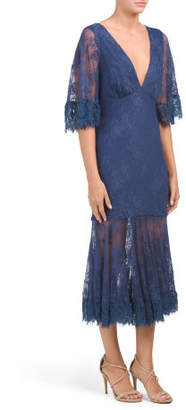 Solid Ruffle Trim Lace Maxi Dress