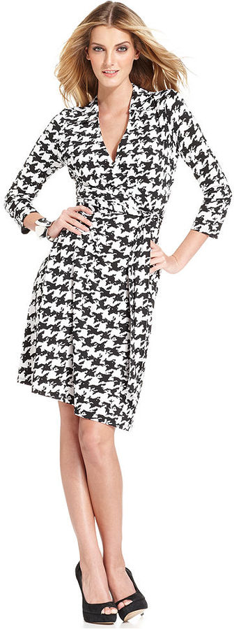 INC International Concepts Petite Dress, Three-Quarter-Sleeve Houndstooth Faux-Wrap