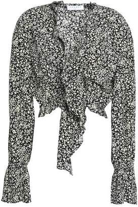 Sandro Cropped Ruffled Floral-Print Crepe Top