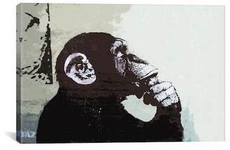 "The Thinker Monkey by Banksy Canvas Print - 18""x12\"""