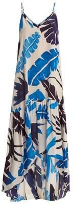 Kalmar - Foliage Print Silk Slip Dress - Womens - White Multi