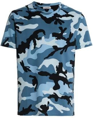 Valentino blue camouflage print short sleeve cotton t shirt