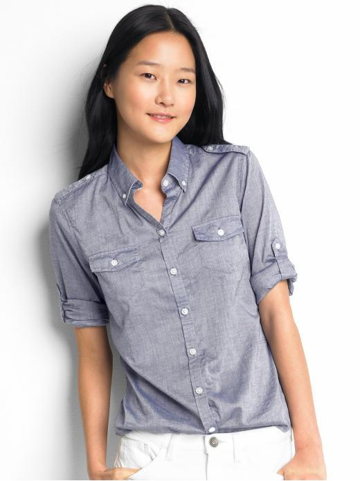 3/4 Sleeve Chambray Safari Shirt