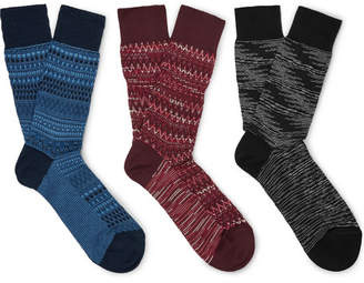 Missoni Three-Pack Crochet-Knit Cotton-Blend Socks - Men - Multi