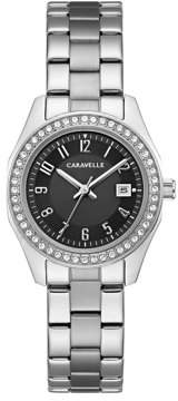 Bulova CARAVELLE Designed by Caravelle Women's Stainless Steel Bracelet Black Dial Crystal Sport Watch 28mm