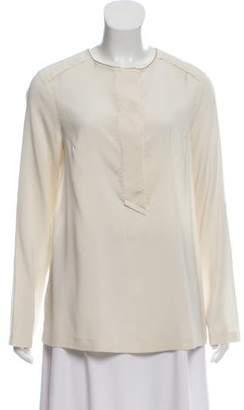 Brunello Cucinelli Monili-Trimmed Silk Top