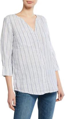 Allen Allen Stripe Linen 3/4 Sleeve Shirt