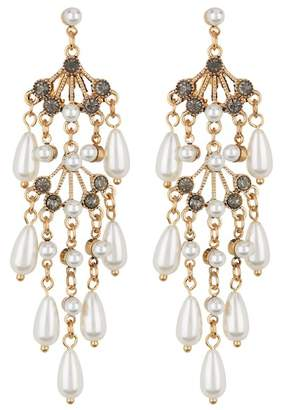 Free Press Stone & Faux Pearl Chandelier Earrings