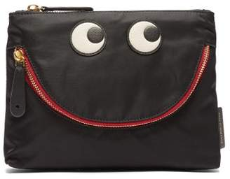 Anya Hindmarch Happy Eyes Pouch Clutch - Womens - Black