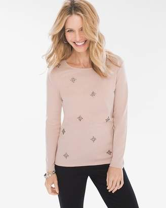 Chico's Chicos Embellished Long-Sleeve Top