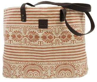 Ashton & Willow Carnelian Orange Beach Handbags Amber Wide Tote Cotton Distressed Appearance Antique Brass Hardware Canvas Striped Tote