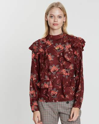Maison Scotch High Neck Printed Ruffle Top