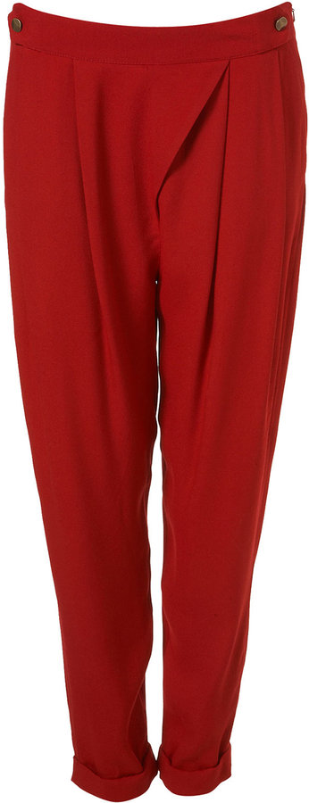 Red Crepe Fold Over Hareem Trousers