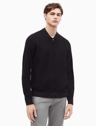 Calvin Klein merino wool blend striped baseball sweater