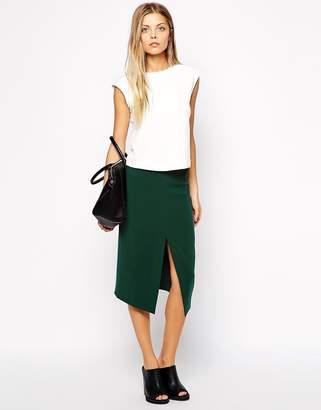 Asos Design Mid Length Split Front Pencil Skirt