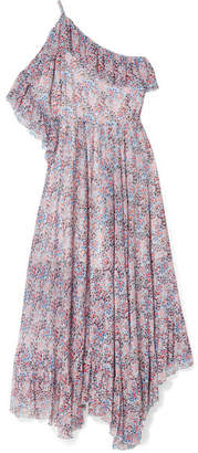 Philosophy di Lorenzo Serafini Cold-shoulder Ruffled Floral-print Crepon Maxi Dress - Purple