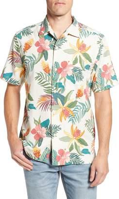 Tommy Bahama Beach Crest Blooms Short Sleeve Silk Blend Sport Shirt