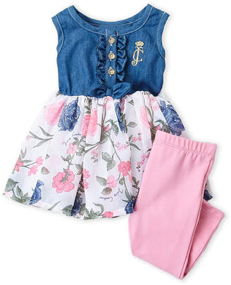 Juicy Couture Infant Girls) Two-Piece Chambray Floral Dress & Leggings Set