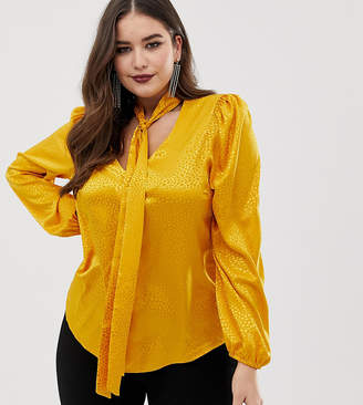 John Zack Plus plunge front blouse with neck tie in mustard