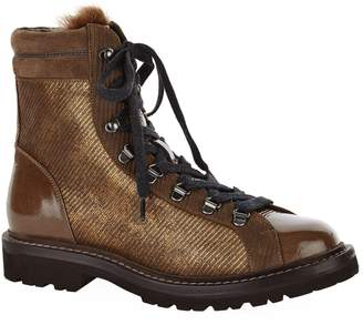 Brunello Cucinelli Multi-Texture Lace-Up Hiking Boots