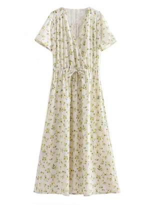 Goodnight Macaroon 'Adina' Floral Print Wrap Top Maxi Dress