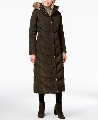 Michael Kors Faux-Fur-Trim Quilted Maxi Puffer Coat