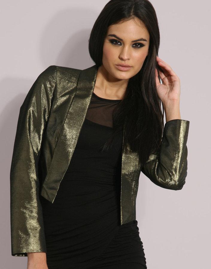 Oasis Metallic Gold Cropped Blazer