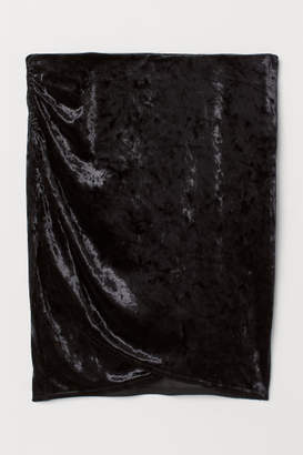 H&M Crushed-velvet Skirt - Black