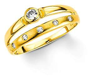 Amor Funny Clown Ring Stacker 333 Yellow Gold Cubic Zirconia White 56 (17.8) gold
