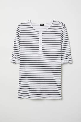 H&M Cotton Jersey Henley Shirt - White