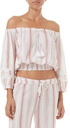 Melissa Odabash Azura Lace Off-Shoulder Cropped Coverup Top