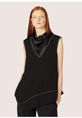 Derek Lam Sleeveless Mock Neck Handkerchief Blouse
