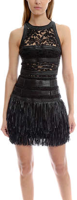 Amen Leather Fringe Dress