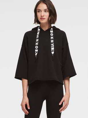 DKNY Cropped-Sleeve Hoodie With Logo Drawstring