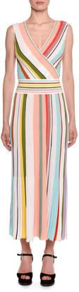 Missoni Crossover V-Neck Sleeveless Striped A-Line Dress