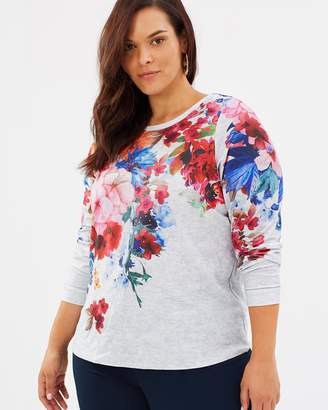 Evans Floral Neckline Sweat Top