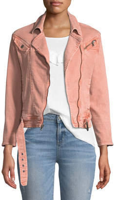 Paige Sivan Zip-Front Belted Denim Jacket