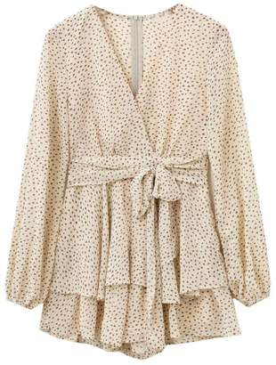 Goodnight Macaroon 'Fallyn' Dotted Print Frilled Wrap Mini Dress (2 Colors)