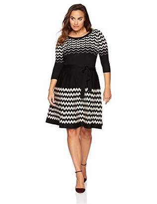 Gabby Skye Women's Plus Size 3/4 Sleeve Scoop Neck Sweater Fit and Flare Dress