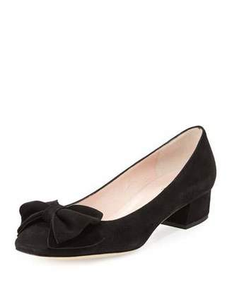 Kate Spade New York Molly Suede Low-Heel Bow Pump, Black $298 thestylecure.com
