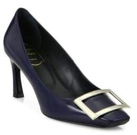 Roger Vivier Women's Trompette Leather Pumps - Midnight Blue - Size 38 (8)