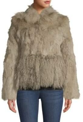 Adrienne Landau Cropped Fox, Rabbit & Lamb Fur Jacket