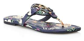 Tory Burch Women's Miller Floral Leather Thong Sandals