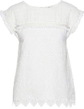 Joie Adamary Frayed Broderie Anglaise Cotton T-Shirt