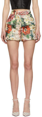 Dolce & Gabbana Multicolor Lurex Peonies Shorts