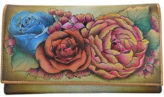 Anuschka Women's Handpainted Leather Checkbook Wallet/Clutch