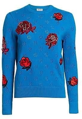 Kenzo Women's Embellished Rose Crewneck Sweater