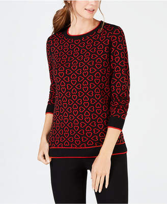 Charter Club Heart-Pattern Sweater, Created for Macy's