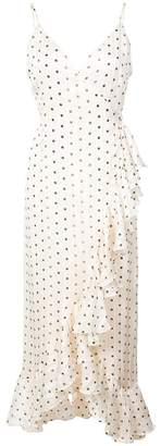 Shona Joy dotted ruffle hem wrap dress